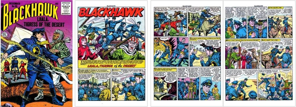 Omslag till Blackhawk #95 och inledande sidor ur episoden Lhala, Tigress of the Desert. ©Quality/Comic Favorites