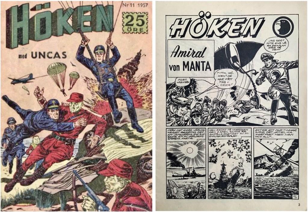 Omslag till Höken nr 11, 1957 och inledande sida ur Höken-serien. ©Formatic/EuropaPress