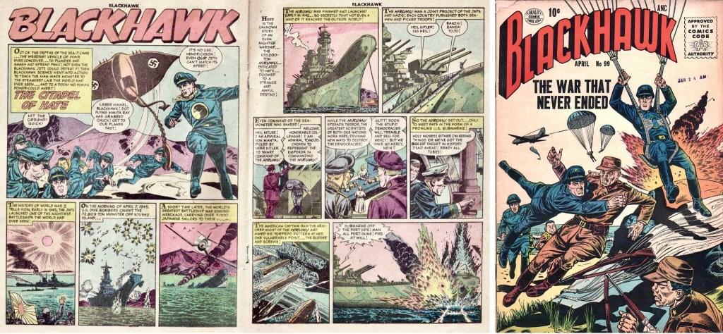 Inledande uppslag med episoden The Citadel of Hate ur Blackhawk #100 och omslag till Blackhawk #99. ©Quality/Comic Favorites