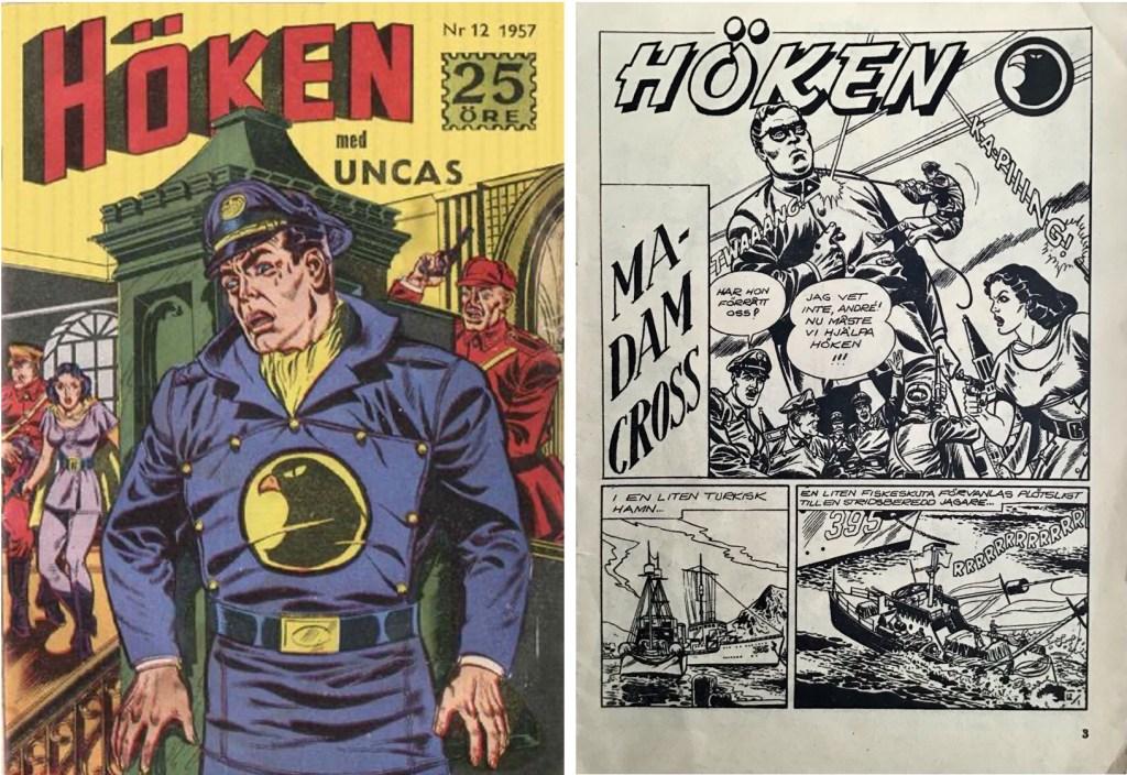 Omslag till Höken nr 12, 1957 och inledande sida ur Höken-serien. ©Formatic/EuropaPress