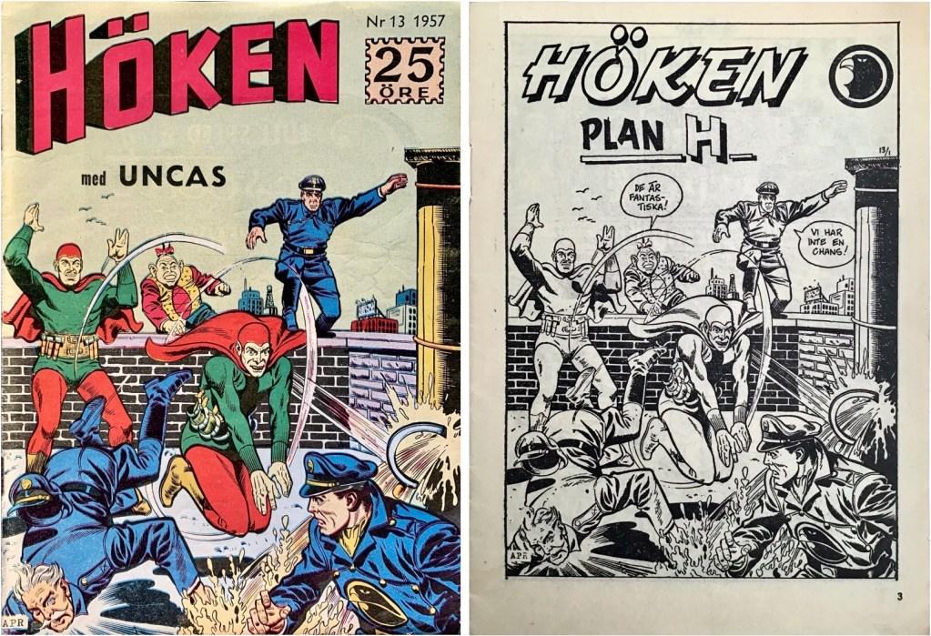 Omslag till Höken nr 13, 1957 och inledande sida ur Höken-serien. ©Formatic/EuropaPress