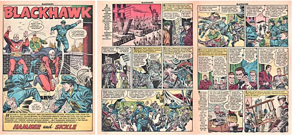 Inledande sidor med episoden Hammer and Sickle ur Blackhawk #83. ©Quality/Comic Favorites