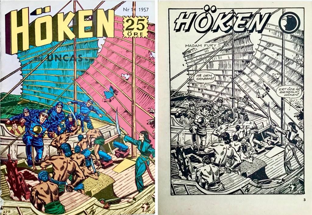 Omslag till Höken nr 14, 1957 och inledande sida ur Höken-serien. ©Formatic/EuropaPress