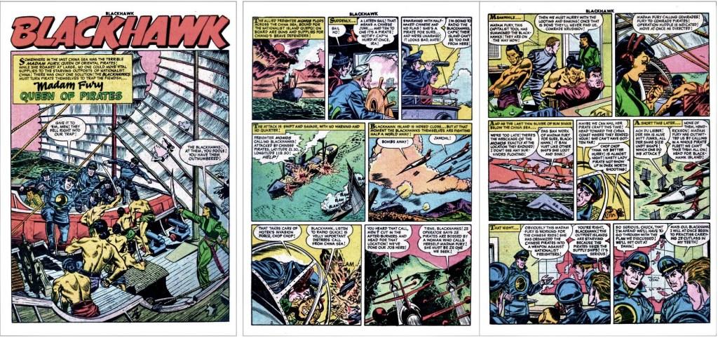 Inledande sidor med episoden Madam Fury, Queen of Pirates ur Blackhawk #95. ©Quality/Comic Favorites