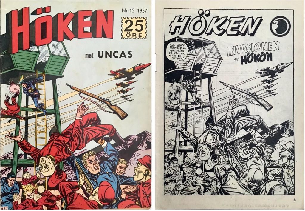 Omslag till Höken nr 15, 1957 och inledande sida ur Höken-serien. ©Formatic/EuropaPress