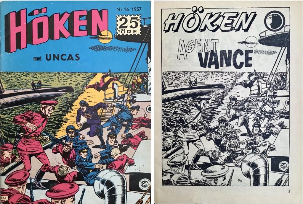 Omslag till Höken nr 16, 1957 och inledande sida ur Höken-serien. ©Formatic/EuropaPress