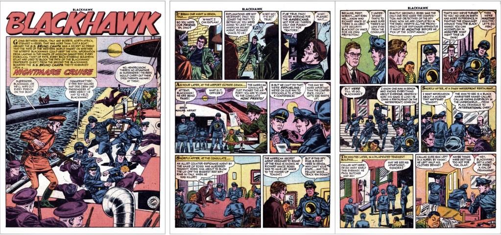 Inledande sidor med episoden Nightmare Cruise ur Blackhawk #105. ©Quality/Comic Favorites