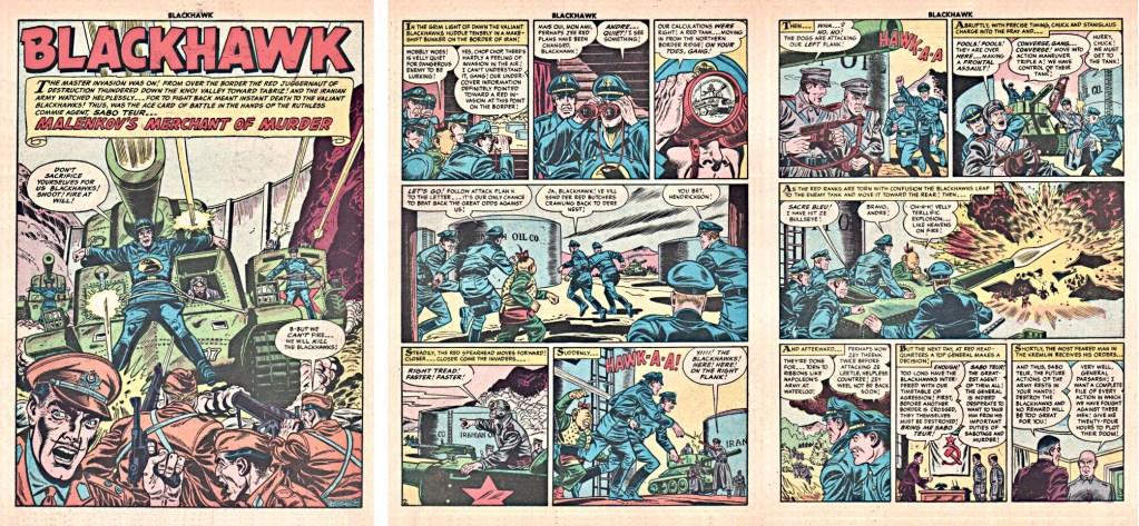 Inledande sidor med episoden Sabo Malenkov's Merchant of Murder ur Blackhawk #82 (1954). ©Quality/Comic Favorites