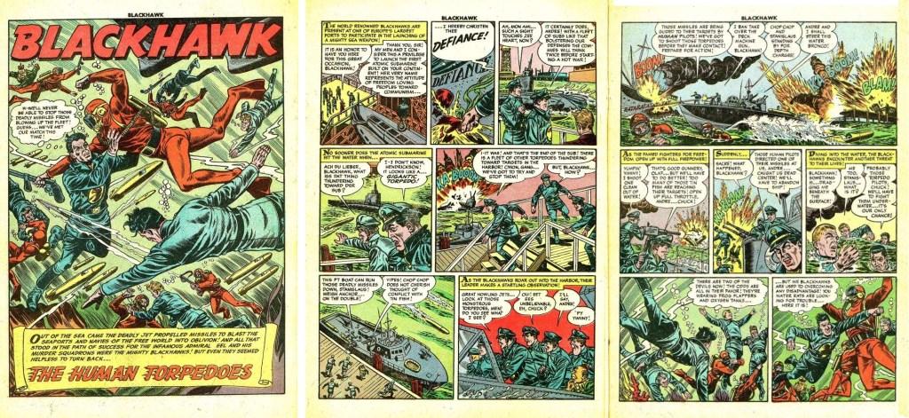 Inledande sidor med episoden The Human Torpedoes ur Blackhawk #86 (1955). ©Quality/Comic Favorites