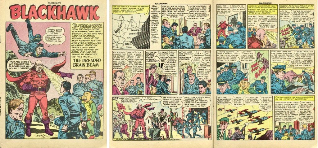 Inledande sidor med episoden The Dreaded Brain Beam ur Blackhawk #84 (1955). ©Quality/Comic Favorites