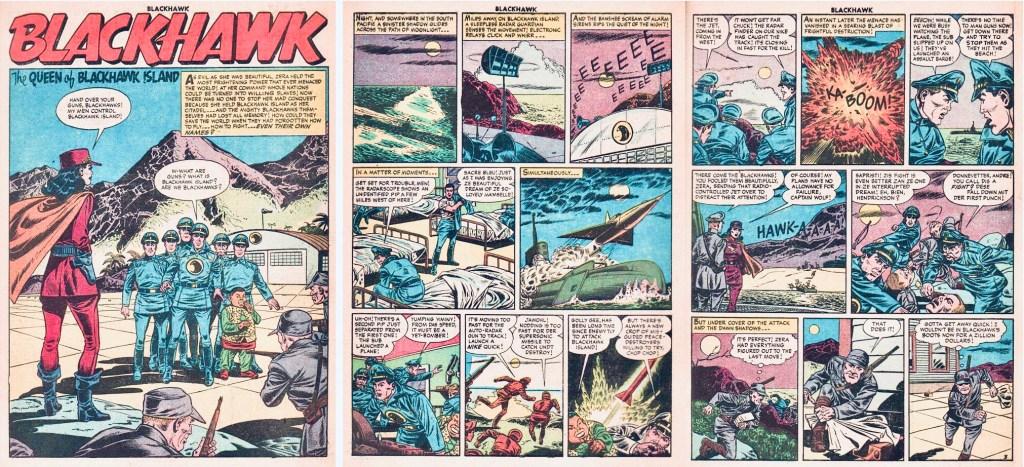 Inledande sidor med episoden The Queen of Blackhawk Island ur Blackhawk #99 (1956). ©Quality/Comic Favorites