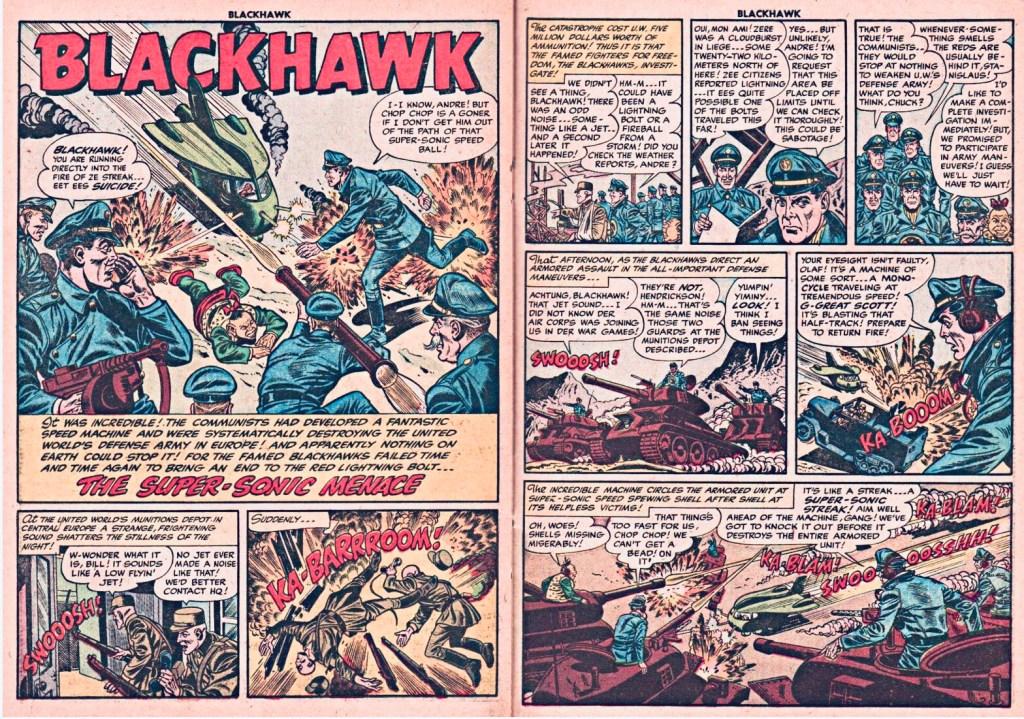 Inledande uppslag med episoden The Super-Sonic Menace ur Blackhawk #85 (1955). ©Quality/Comic Favorites