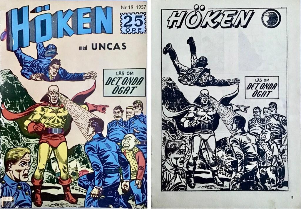Omslag till Höken nr 19, 1957 och inledande sida ur Höken-serien. ©Formatic/EuropaPress