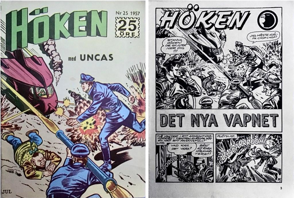 Omslag till Höken nr 25, 1957 och inledande sida ur Höken-serien. ©Formatic/EuropaPress