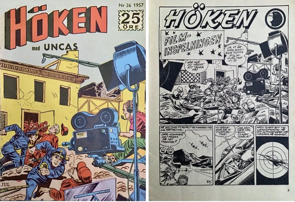 Omslag till Höken nr 26, 1957 och inledande sida ur Höken-serien. ©Formatic/EuropaPress