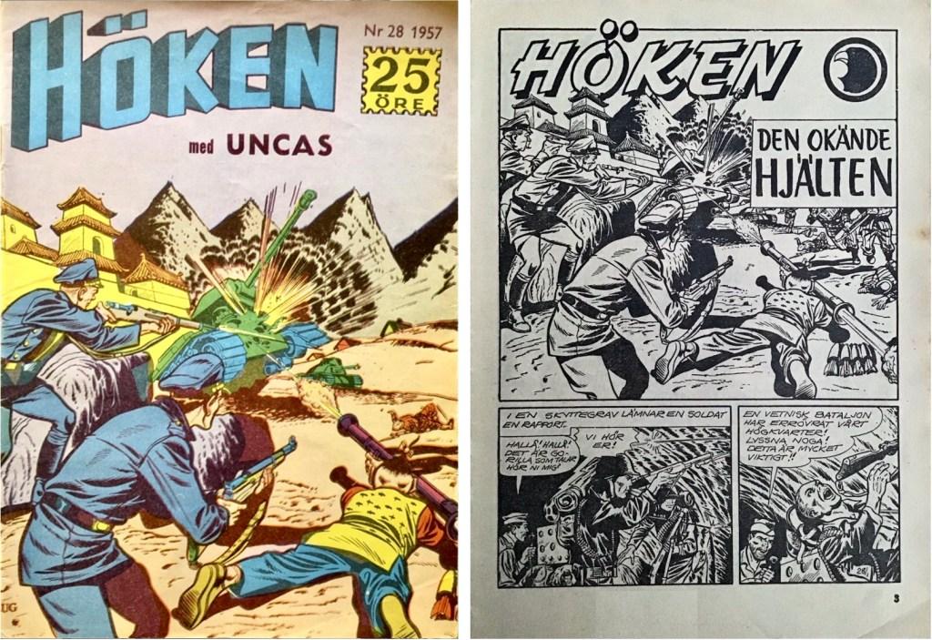 Omslag till Höken nr 28, 1957 och inledande sida ur Höken-serien. ©Formatic/EuropaPress