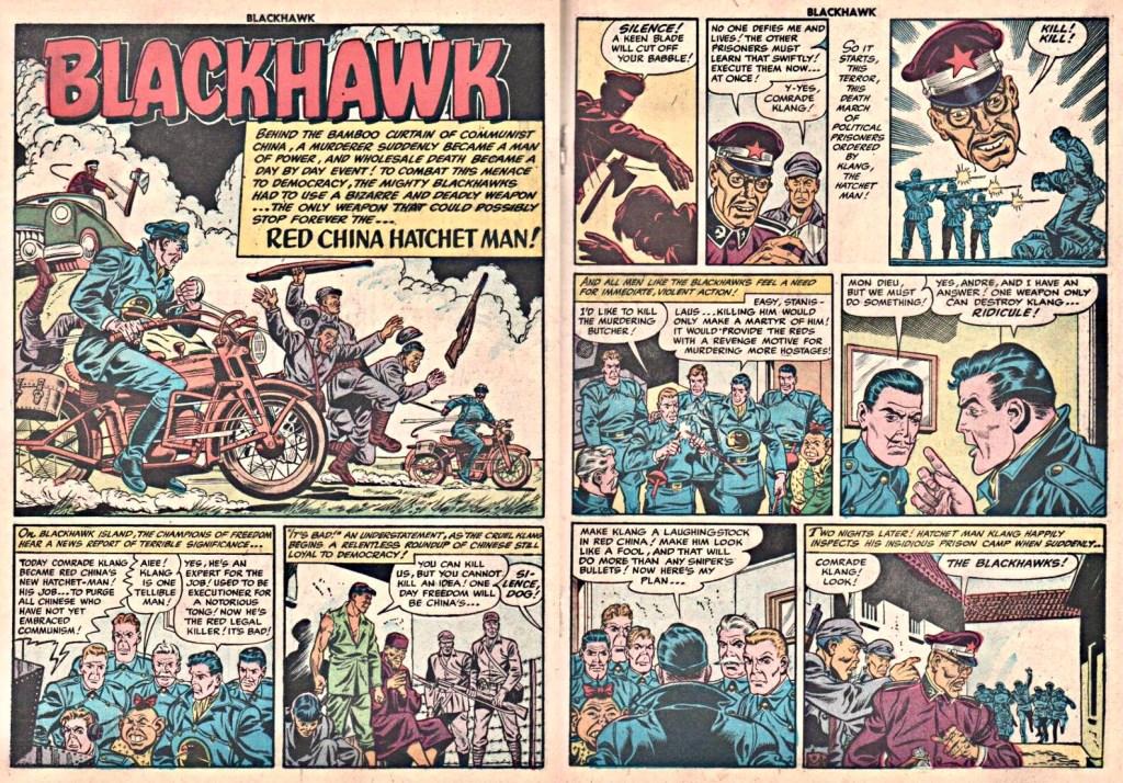Inledande uppslag med episoden Red China Hatchet Man ur Blackhawk #82 (1954). ©Quality/Comic Favorites