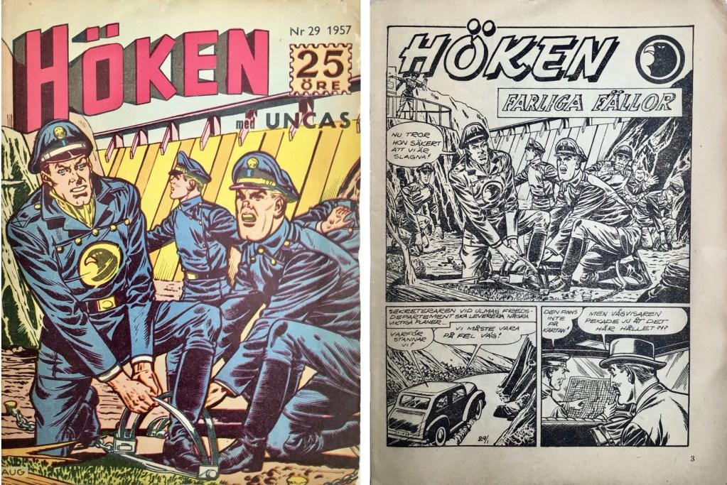 Omslag till Höken nr 29, 1957 och inledande sida ur Höken-serien. ©Formatic/EuropaPress