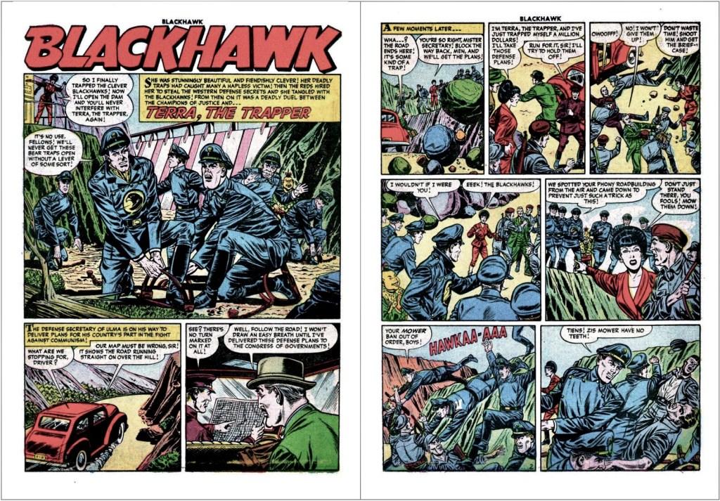Inledande uppslag med episoden Terra the Trapper ur Blackhawk #95 (1955). ©Quality/Comic Favorites