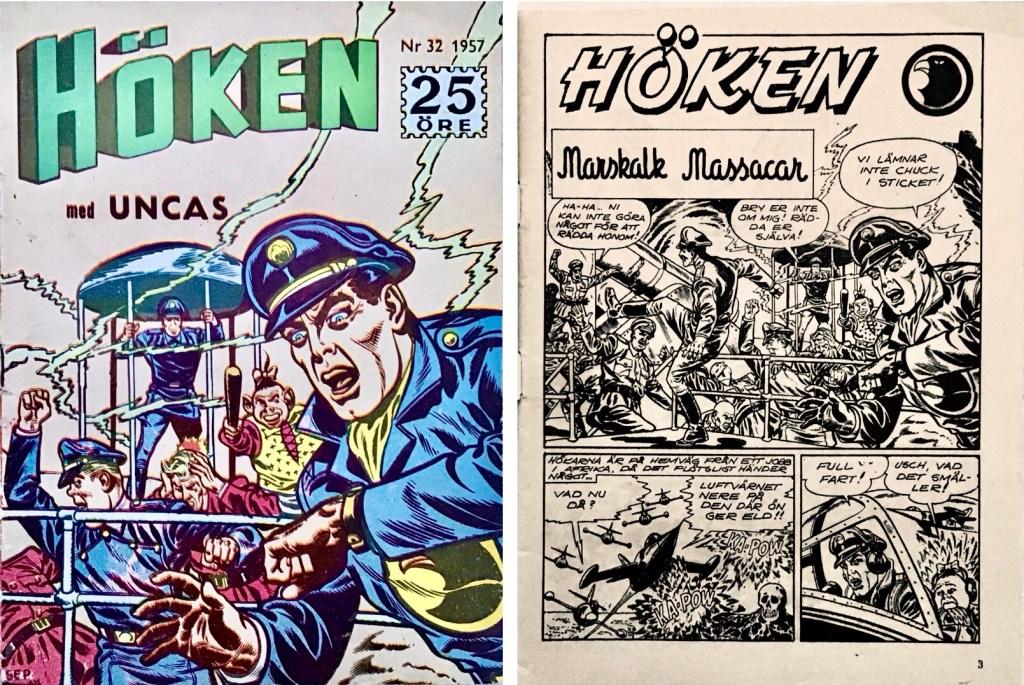 Omslag till Höken nr 32, 1957 och inledande sida ur Höken-serien. ©Formatic/EuropaPress