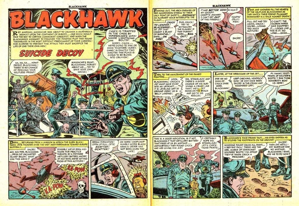 Inledande uppslag med episoden Suicide Decoy ur Blackhawk #86 (1955). ©Quality/Comic Favorites