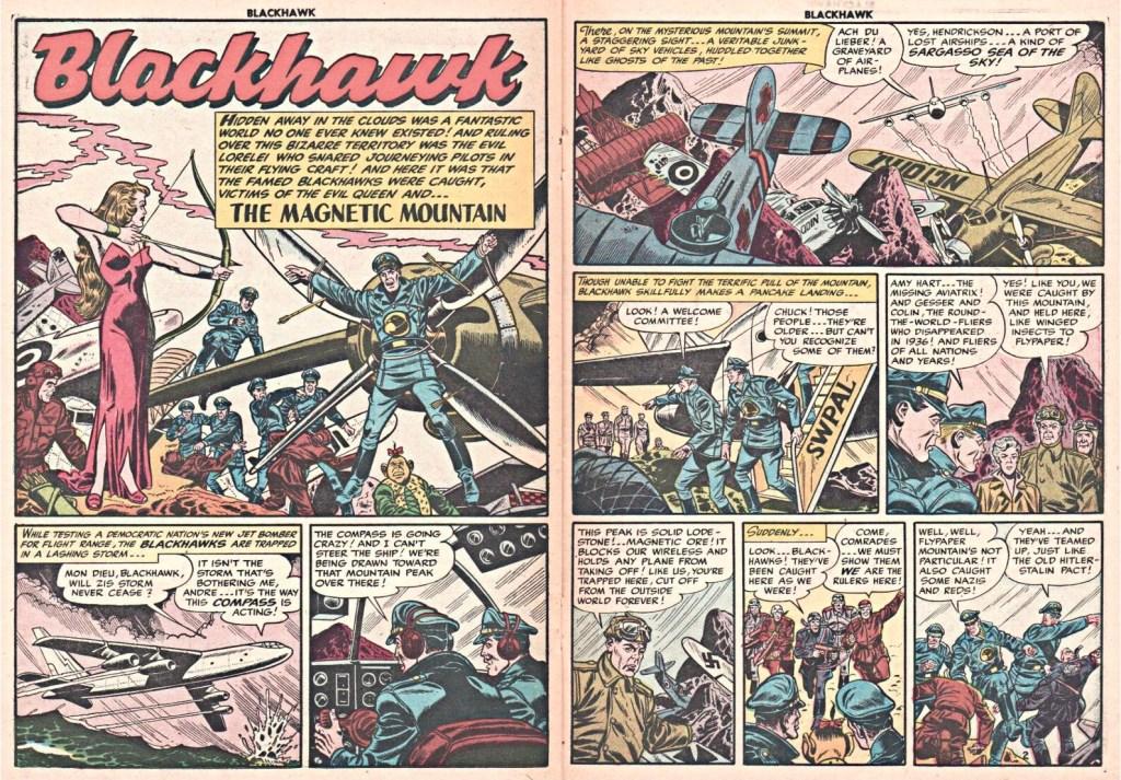 Inledande uppslag med episoden The Magnetic Mountain ur Blackhawk #83 (1954). ©Quality/Comic Favorites