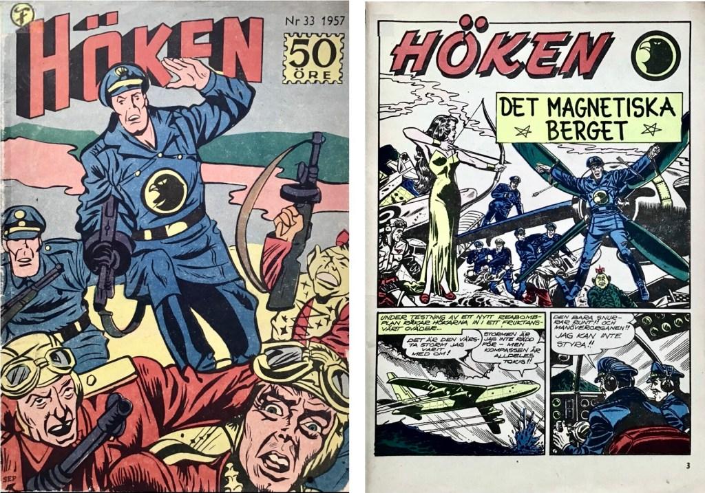 Omslag till Höken nr 33, 1957 och inledande sida ur Höken-serien. ©Formatic/EuropaPress