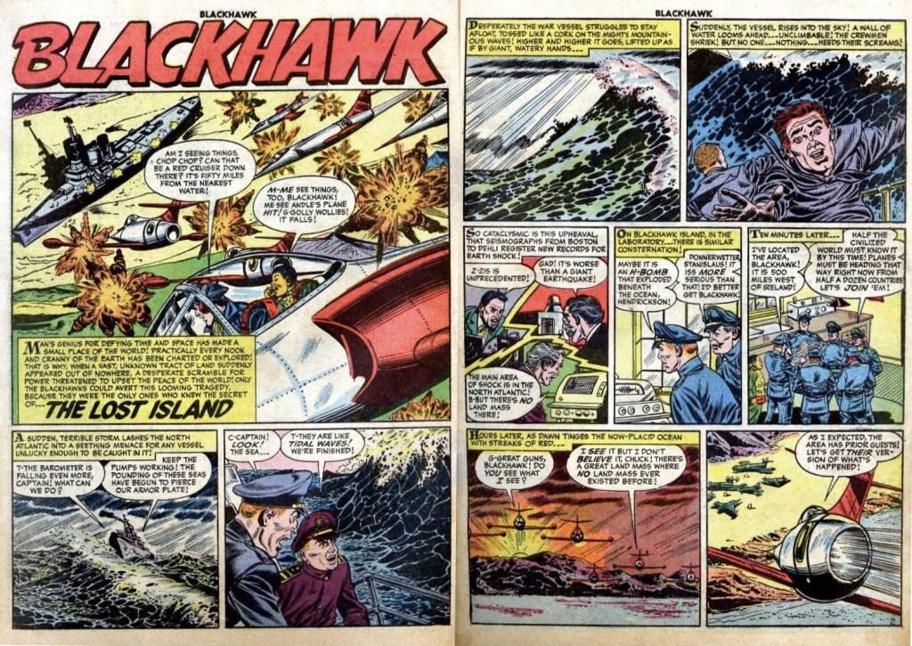 Inledande uppslag med episoden The Lost Island ur Blackhawk #101 (1954). ©Quality/Comic Favorites