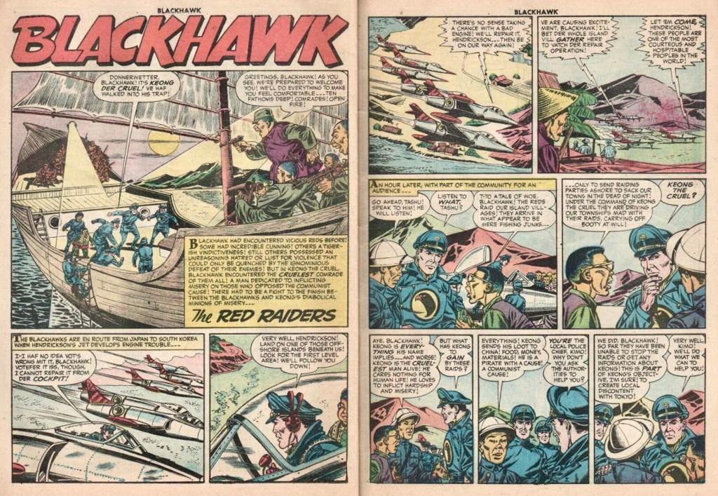Inledande uppslag med episoden The Red Raiders ur Blackhawk #106 (1956). ©Quality/Comic Favorites