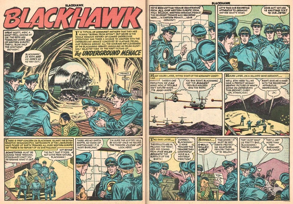 Inledande uppslag med episoden The Underground Menace ur Blackhawk #99 (1956). ©Quality/Comic Favorites