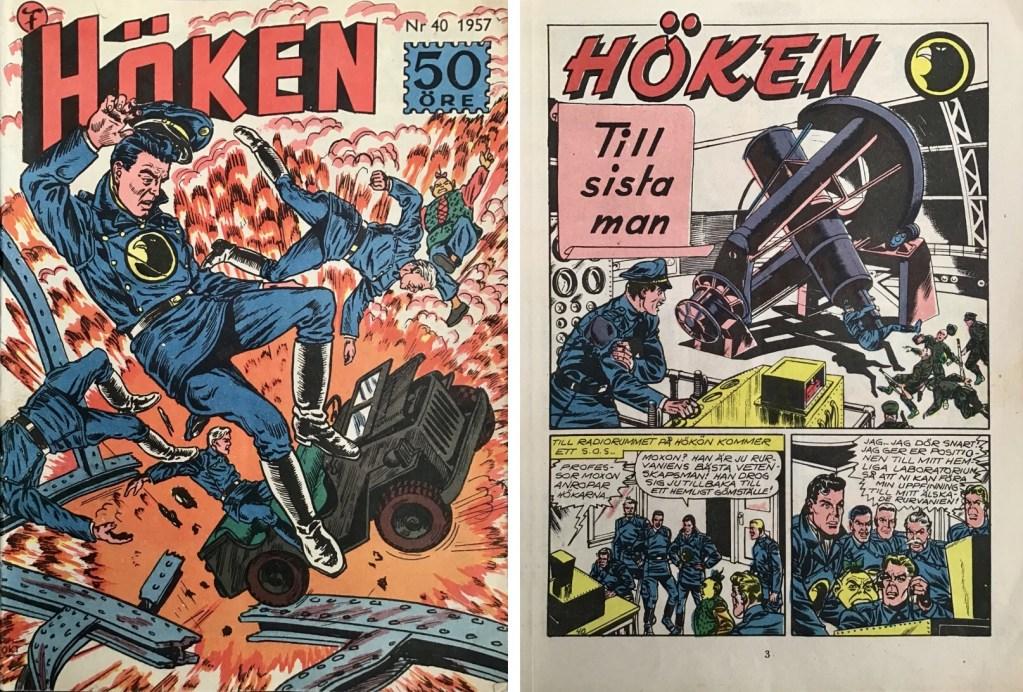 Omslag till Höken nr 40, 1957 och inledande sida ur Höken-serien. ©Formatic/EuropaPress