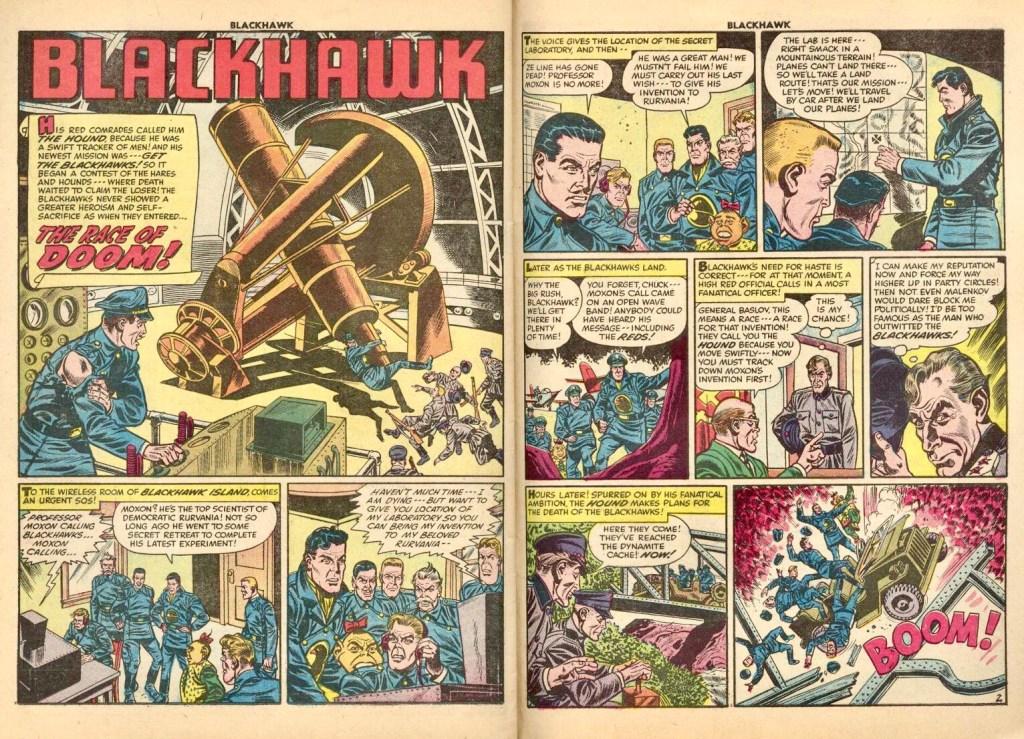 Inledande uppslag med episoden The Race of Doom ur Blackhawk #84 (1955). ©Quality/Comic Favorites