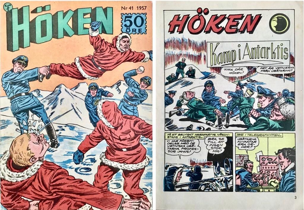 Omslag till Höken nr 41, 1957 och inledande sida ur Höken-serien. ©Formatic/EuropaPress