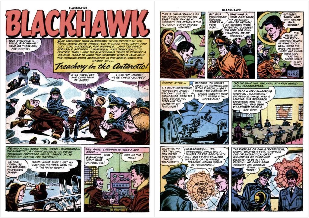Inledande uppslag med episoden Treachery in the Antarctic ur Blackhawk #104 (1956). ©Quality/Comic Favorites