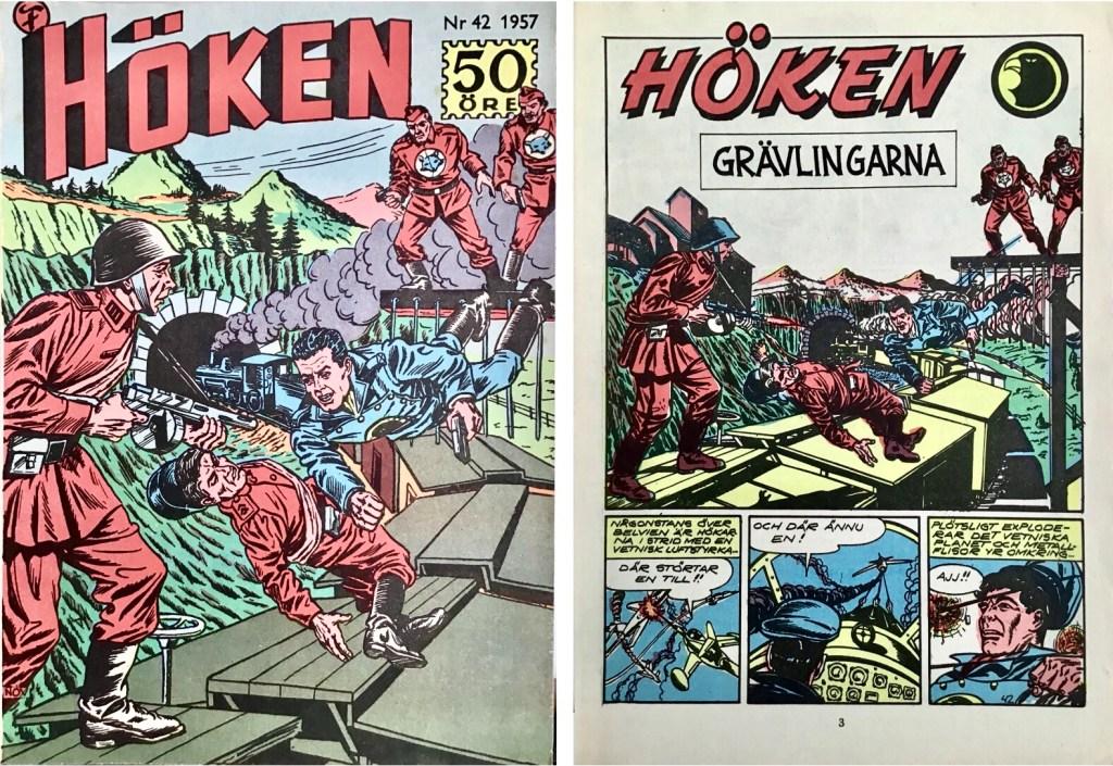 Omslag till Höken nr 42, 1957 och inledande sida ur Höken-serien. ©Formatic/EuropaPress