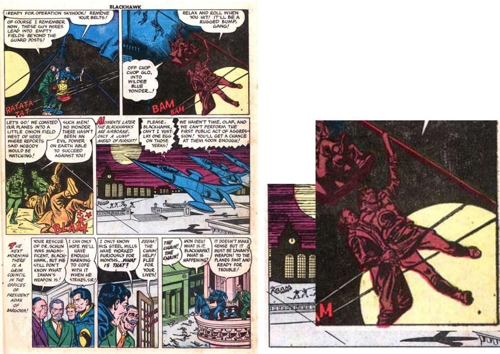 Omslaget till Höken nr 39/57 blev skapat från element ur serierutor på fjärde sidan i episoden. ©Formatic/Quality/Comic Favorites