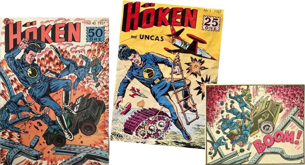 Omslaget till Höken nr 40/57 kan vara en bearbetning av element från omslaget på nr 1 och en serieruta på andra sidan i episoden. ©Formatic/Quality/Comic Favorites