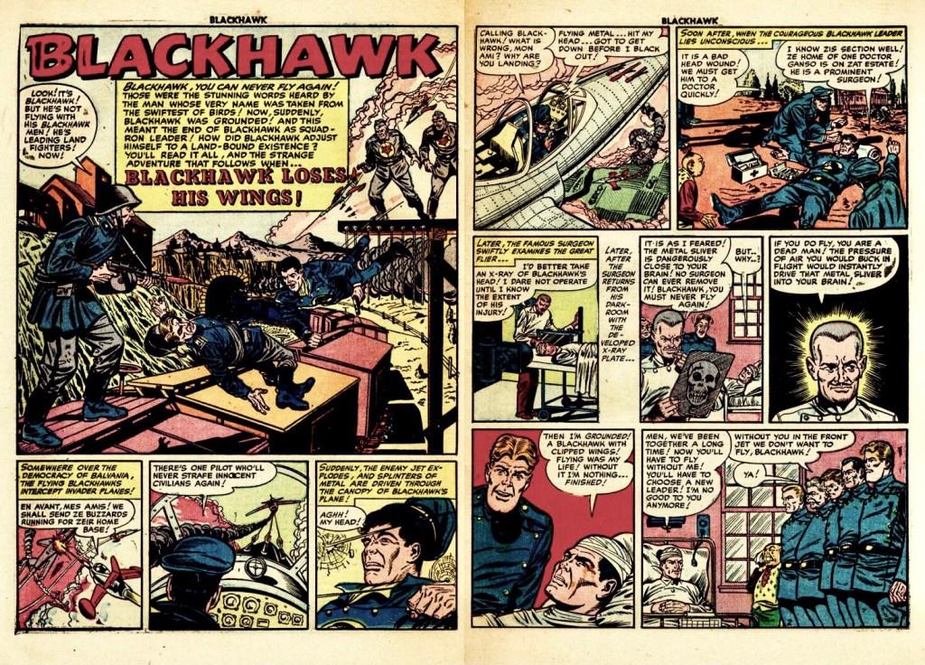 Inledande uppslag med episoden Blackhawk Loses His Wings ur Blackhawk #63 (1953). ©Quality/Comic Magazine