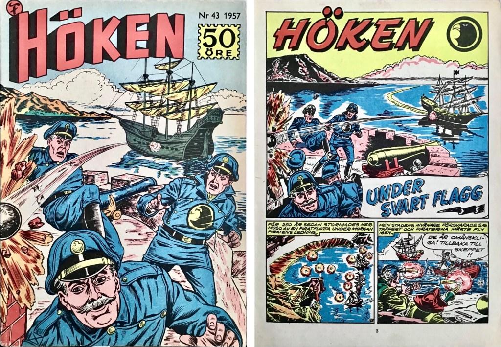 Omslag till Höken nr 43, 1957 och inledande sida ur Höken-serien. ©Formatic/EuropaPress