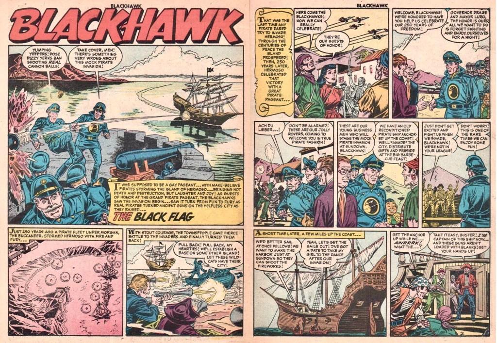 Inledande uppslag med episoden The Black Flag ur Blackhawk #98 (1956). ©Quality/Comic Favorites