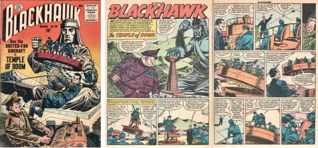 Omslag till Blackhawk #98 (1956) och inledande uppslag ur episoden The Temple of Doom. ©Quality/Comic Favorites