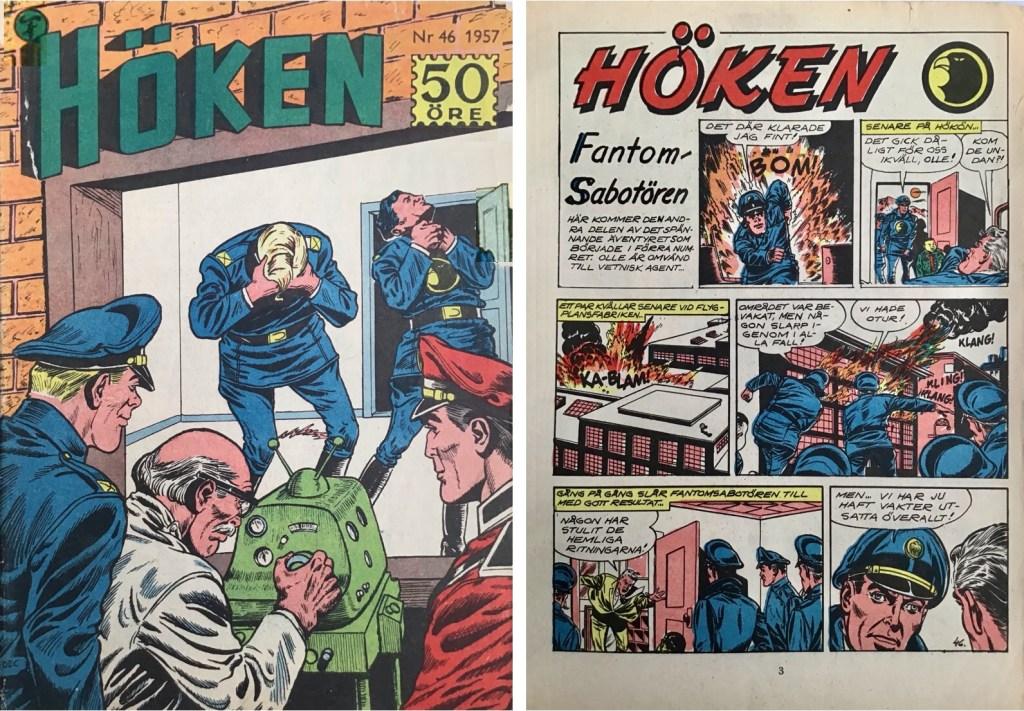 Omslag till Höken nr 46, 1957 och inledande sida ur Höken-serien. ©Formatic/EuropaPress