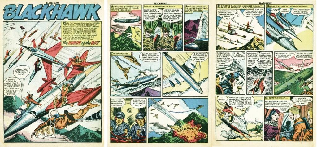 Omslag till Blackhawk #97 (1956) och inledande uppslag ur episoden The Horde of the Bat. ©Quality/Comic Favorites