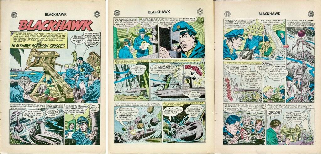 Inledande sidor med episoden The Blackhawk Robinson Crusoes ur Blackhawk #118 (1957). ©DC