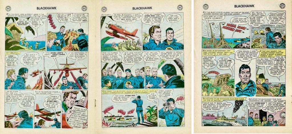 Avslutande sidor med episoden The Blackhawk Robinson Crusoes ur Blackhawk #118 (1957). ©DC