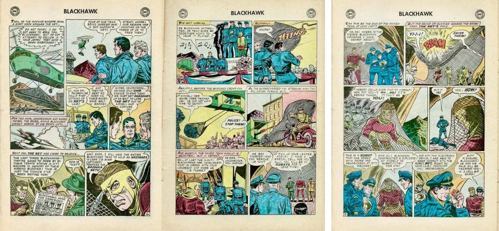 Avslutande sidor med episoden The Bandit With 1,000 Nets ur Blackhawk #118 (1957). ©DC