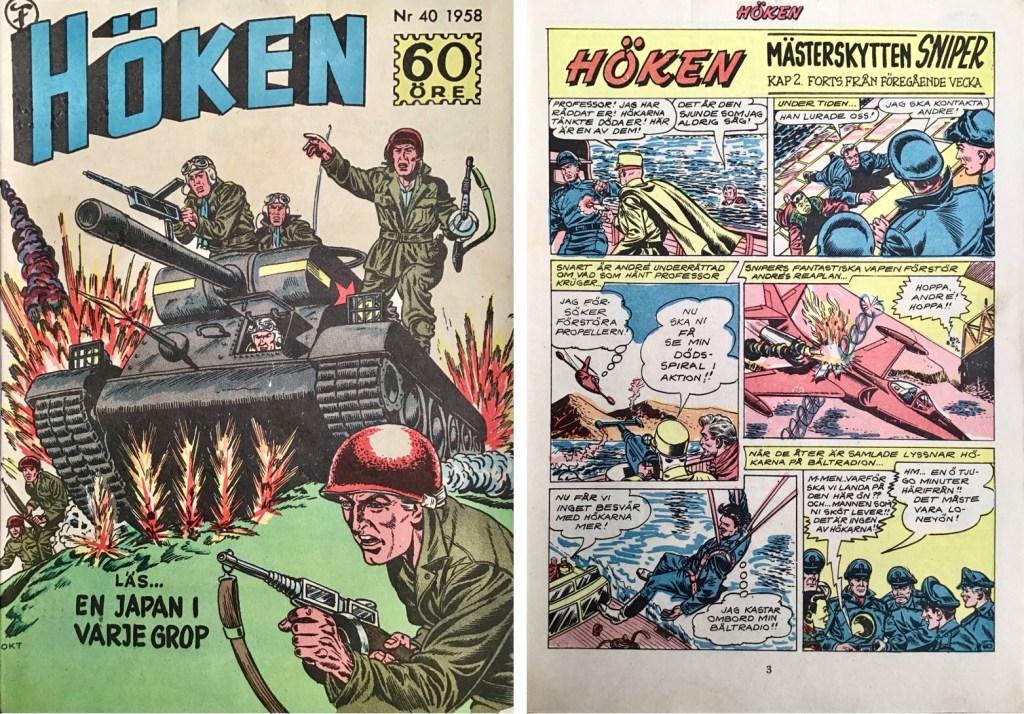 Omslag till Höken nr 40, 1958 och inledande sida ur Höken-serien. ©Formatic/EuropaPress