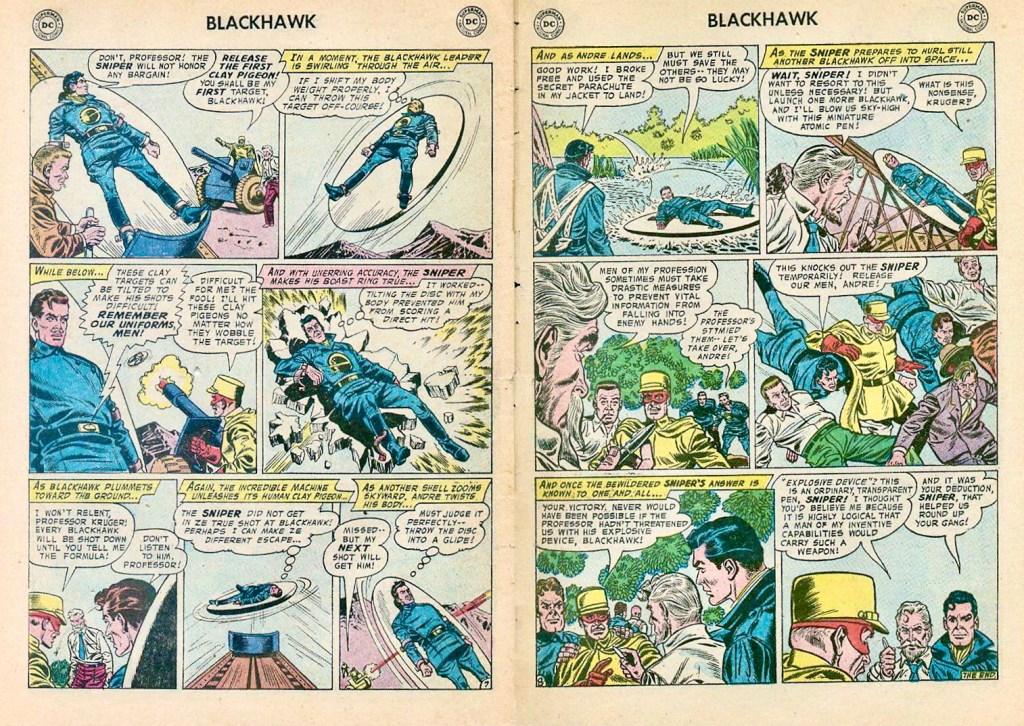 Avslutande uppslag med episoden The Human Clay Pigeons ur Blackhawk #118 (1957). ©DC