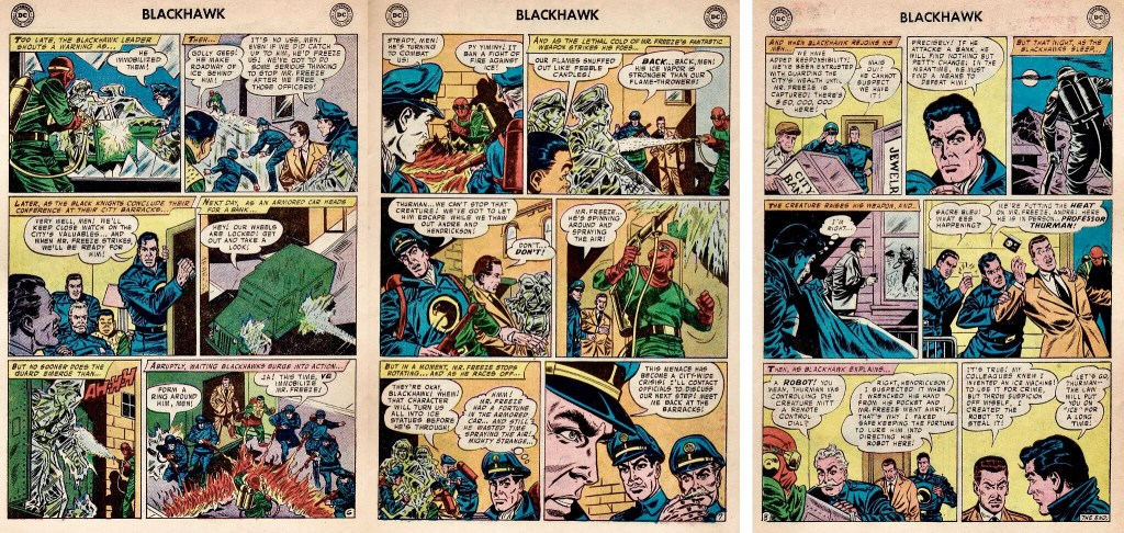 Avslutande sidor med episoden The Fantastic Mr. Freeze ur Blackhawk #117 (1957). ©DC