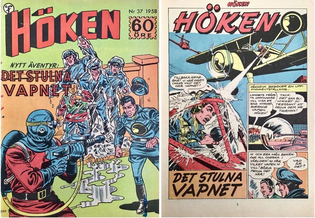 Omslag till Höken nr 37, 1958 och inledande sida ur Höken-serien. ©Formatic/EuropaPress